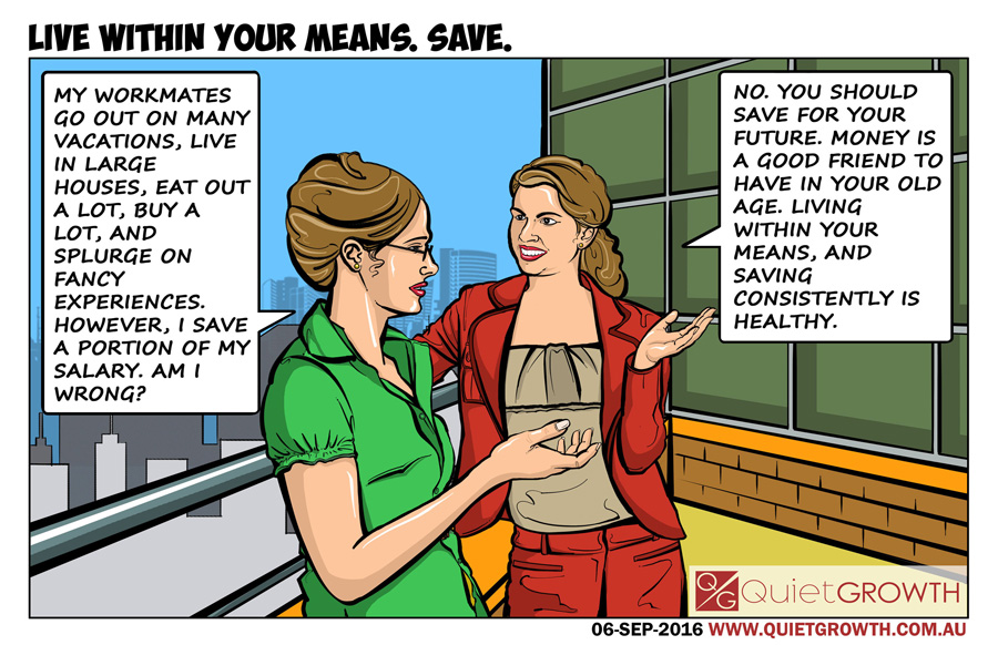 Cartoon 31: Live within your means. Save